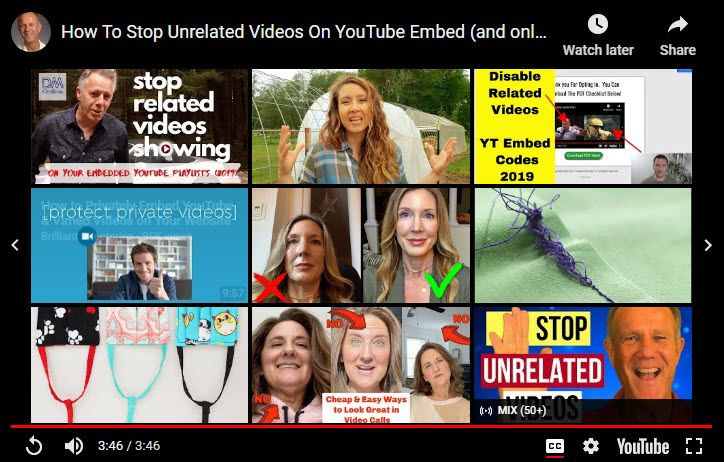 Example of YouTube related videos Google displays at the end of playing an embedded video.