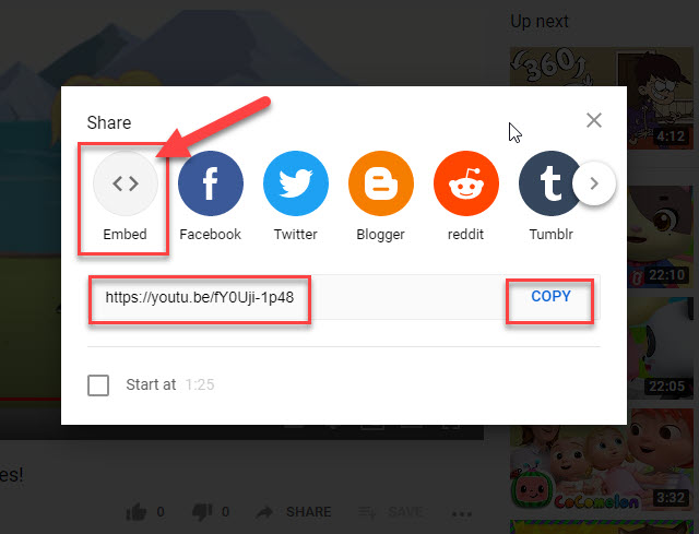 Modal window that get displayed from clicking on the Share button while playing a YouTube video in a YouTube channel.
